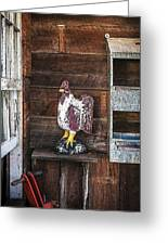 Quiet Rooster Wood Carved Greeting Card