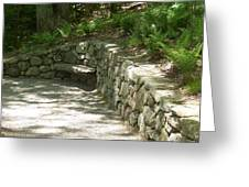 Bench In A Stone Wall Greeting Card
