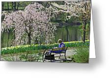Quiet Time Among The Cherry Blossoms Greeting Card
