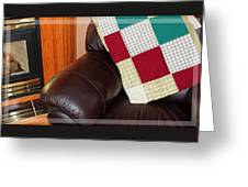 Quilt Beside A Fireplace Greeting Card