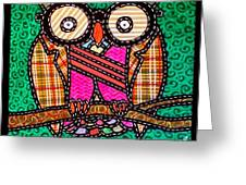Quilted Mr Owl Esquire Greeting Card