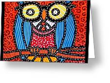 Quilted Professor Owl Greeting Card