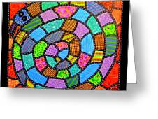 Quilted Spiral Snake Greeting Card