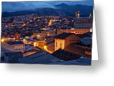 Quito Old Town At Night Greeting Card