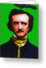 Quoth The Raven Nevermore - Edgar Allan Poe - Painterly - Green - With Text Greeting Card
