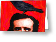 Quoth The Raven Nevermore - Edgar Allan Poe - Painterly - Square Greeting Card