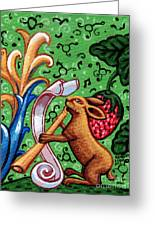Rabbit Plays The Flute Greeting Card