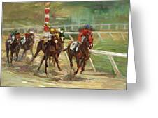 Race Horses Greeting Card by Laurie Hein