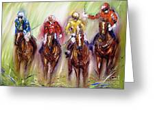 Irish Racehorses Available As A Signed And Numbered Print See Www.pixi-.com Greeting Card
