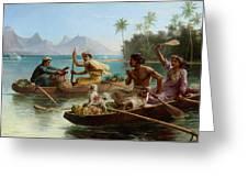 Race To The Market Tahiti Greeting Card