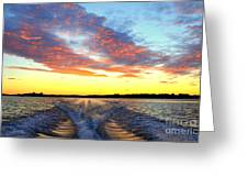 Racing Home Before The Sun Sets Greeting Card