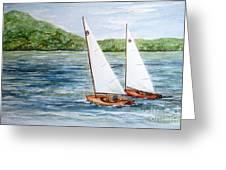Racing On The Lake Greeting Card