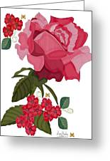 Rad Pink And Red Rose Greeting Card