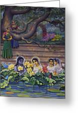 Radha And Krishna Water Pastime Greeting Card