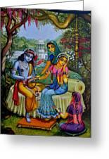Radha Krishna Man Lila On Radha Kunda Greeting Card by Vrindavan Das