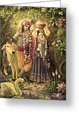Radha-krishna Radhakunda 2 Greeting Card by Lila Shravani