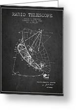 Radio Telescope Patent From 1968 - Charcoal Greeting Card