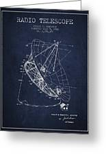 Radio Telescope Patent From 1968 - Navy Blue Greeting Card