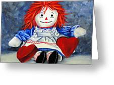 Raggedy Ann With Hearts Greeting Card