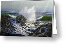 Raging Surf Greeting Card by Frank Wilson