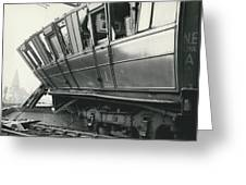 Rail Crash At Bethnal Green Four Coaches Derailed And Greeting Card
