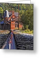 Rail Reflection At The Train Station Greeting Card