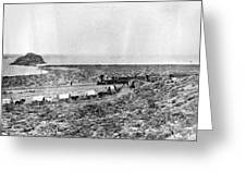 Railroad And Wagon Train Greeting Card