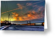 Railroad At Dawn Greeting Card