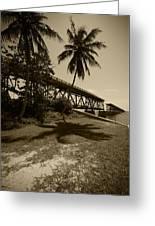 Railroad  Bridge In Sepia Greeting Card