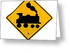 Railroad Crossing Steam Engine Roadsign On White Greeting Card