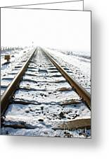 Railroad In Snow Greeting Card
