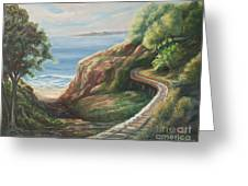 Railroad Track By The Beach Greeting Card