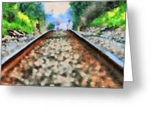 Railroad Tracks In The Summer Heat Greeting Card