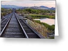Railroad Tracks Leading To The Mountains Greeting Card