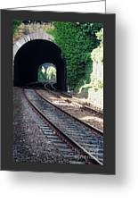 Railroad Tracks At Conway Castle, Wales  Greeting Card
