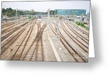 Railroad Train Yard Greeting Card