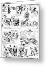 Railroading Cartoon, 1873 Greeting Card