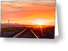 Rails To The Red Sky Greeting Card