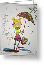 Rain And Shopping Greeting Card by Mary Kay De Jesus