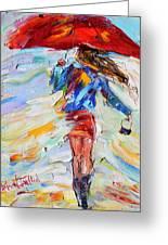 Rain Dance With Red Umbrella Greeting Card
