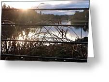 Rain Drops On Railing River View 1 Greeting Card