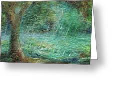 Rain On The Pond Greeting Card
