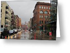 Rain On Water Street 1 Greeting Card