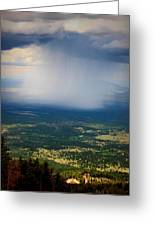 Rain Shaft From The Peaks Greeting Card