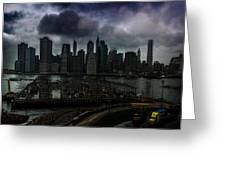 Rain Showers Likely Over Downtown Manhattan Greeting Card