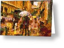 Rain Walk At Night Abstract Greeting Card