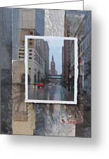 Rain Water Street W City Hall Greeting Card