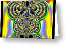 Rainbow Alien Owls Fractal 57 Greeting Card