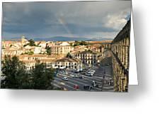 Rainbow And Ancient Aqueduct Greeting Card by Viacheslav Savitskiy