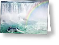 Rainbow And Tourist Boat At Niagara Falls Greeting Card